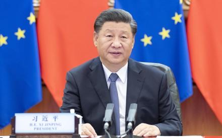 China's President Xi Jinping co-hosts a virtual China-Germany-EU leaders' meeting on September 14, 2020. Photo: Xinhua