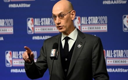 NBA Commissioner Adam Silver speaks to the media during a press conference in February, 2020. Photo: AFP