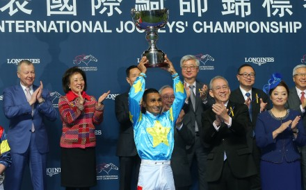 Karis Teetan celebrates his International Jockeys' Championship win in 2019. Photos: Kenneth Chan