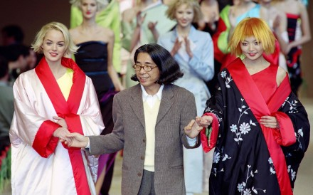 Kenzo at the end of the presentation of his 1996 fall/winter ready-to-wear collection. Photo: Agence France-Presse