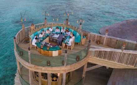 The meeting room and dining terrace at Soneva Fushi in the Maldives. Photo: Soneva Fushi