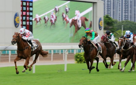 Inner Flame surges to victory at Sha Tin in May. Photos: Kenneth Chan