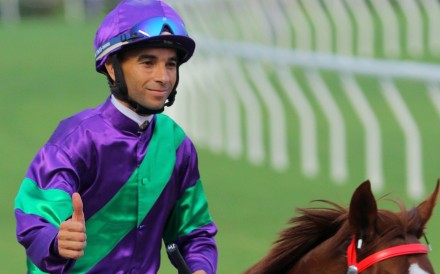 Joao Moreira celebrates winning on Excellent Proposal with his last ride before his suspension. Photos: Kenneth Chan