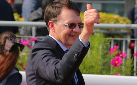 Aidan O'Brien celebrates a win at Sha Tin. Photos: Kenneth Chan