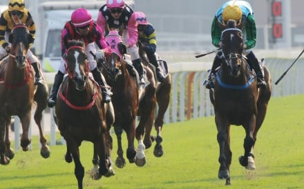 Rise High (yellow cap) upsets Beauty Generation (cap with pink and white spots) in the 2019 Oriental Watch Sha Tin Trophy. Photos: Kenneth Chan