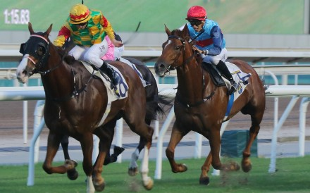 Mighty Giant (left) storms to victory at Sha Tin. Photos: Kenneth Chan