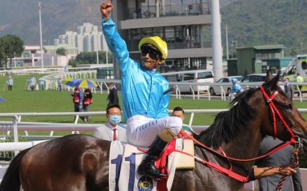 A jubilant Karis Teetan celebrates a winner. Photos: Kenneth Chan