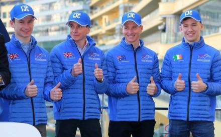 Jockeys Oisin Murphy, Ryan Moore, James McDonald and Colin Keane at the 2019 International Jockeys' Championship launch. Photos: Kenneth Chan