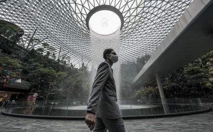 A man walks through the Jewel Changi Airport in Singapore. Photo: EPA