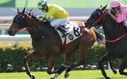 Moon Peaks holds off his rivals to win at Sha Tin on Saturday. Photos: Kenneth Chan