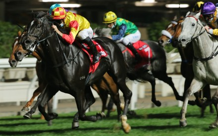 Christophe Soumillon guides Savvy Nine to victory in Wednesday night's Group Three January Cup at Happy Valley. Photos: Kenneth Chan