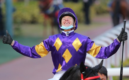 Antoine Hamelin soaks up the moment after securing his fifth winner of the day. Photos: Kenneth Chan