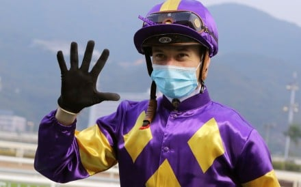 Antoine Hamelin enjoys his five winners at Sha Tin on Sunday. Photo: Kenneth Chan