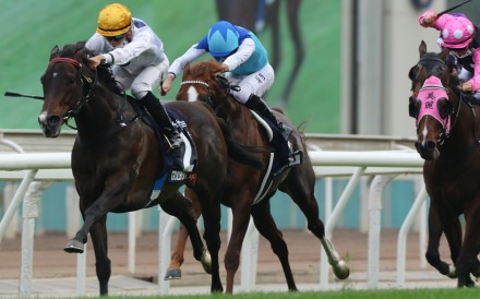 Golden Sixty (left) dashes clear to win the Hong Kong Mile in December. Photos: Kenneth Chan