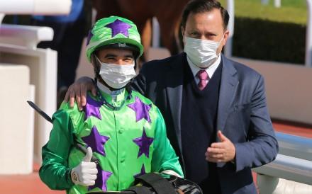 Joao Moreira and Caspar Fownes celebrate a winner. Photos: Kenneth Chan