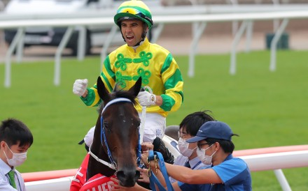 Joao Moreira celebrates his victory aboard Sky Darci. Photos: Kenneth Chan