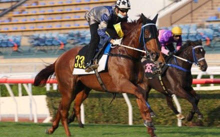 Joao Moreira guides Aethero to victory in a barrier trial on Tuesday morning. Photos: Kenneth Chan