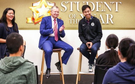 (Second Left to right) Hong Kong Jockey Club CEO Winfried Engelbrecht-Bresges and Post CEO Gary Liu at the 2019 Student of the Year awards. Photo: Jonathan Wong