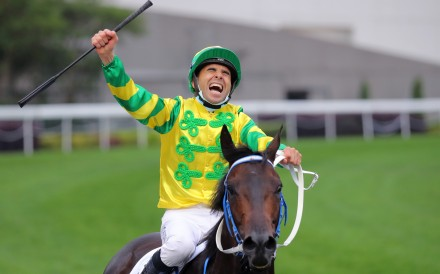 Joao Moreira celebrates his Hong Kong Derby victory aboard Sky Darci at Sha Tin on Sunday. Photos: Kenneth Chan