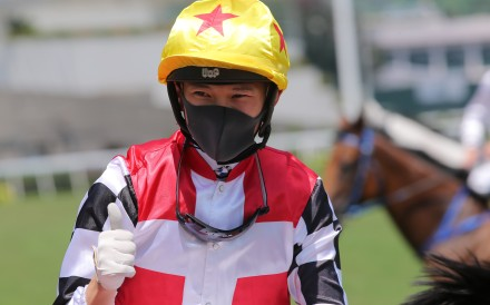 Jerry Chau enjoys his win aboard First Responder. Photos: Kenneth Chan