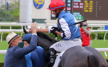 David Hayes and Vincent Ho celebrate Naboo Attack's win. Photos: Kenneth Chan