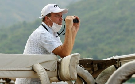 Caspar Fownes watches his horses work on Monday morning. Photos: Kenneth Chan.