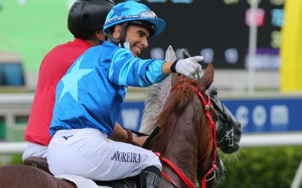 Joao Moreira celebrates a recent victory aboard Master Eight. Photos: Kenneth Chan