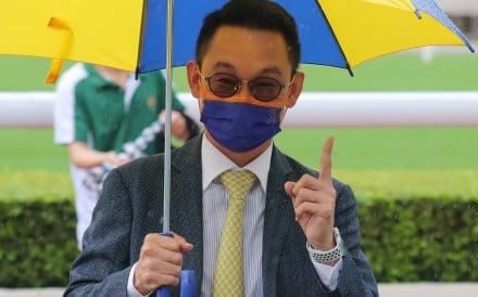 Jimmy Ting enjoys his 100th winner at Sha Tin on Saturday. Photos: Kenneth Chan