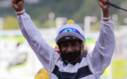 Karis Teetan celebrates his Group One victory aboard Panfield in May. Photos: Kenneth Chan