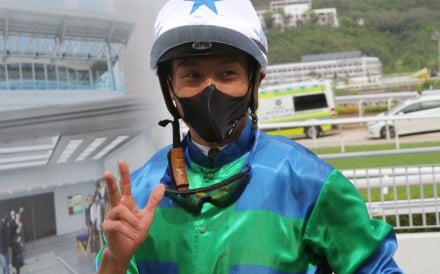 Vincent Ho celebrates one of his 58 winners so far this season. Photos: Kenneth Chan