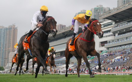 Golden Sixty (left) holds off More Than This in the Champions Mile in April. Photos: Kenneth Chan