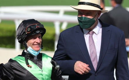 Jockey Zac Purton and trainer David Hayes are all smiles on opening day. Photos: Kenneth Chan