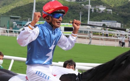Karis Teetan celebrates Naboo Attack's win in the Class One HKSAR Chief Executive's Cup at Sha Tin on Sunday. Photos: Kenneth Chan