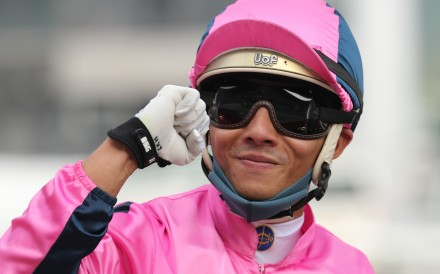 Alfred Chan celebrates Land Power's victory at Sha Tin on Sunday. Photo: Kenneth Chan