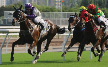Matthew Chadwick drives Buddies to victory in the Group Three Celebration Cup at Sha Tin on Sunday. Photos: Kenneth Chan