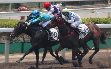 Joao Moreira drives Steel Win (left) to victory in September. Photos: Kenneth Chan