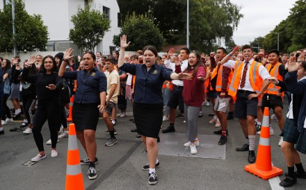 Students from schools in Christchurch, New Zealand performed a traditional haka as part of a gathering to pay tribute to victims of mass shootings at two mosques in the city....