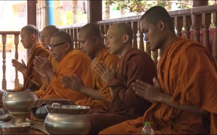 Monks at a Buddhist temple in Thailand are wearing robes made from recycled plastic bottles. The men hope to preserve the environment by reducing the amount of plastic trash that reaches landfills...