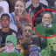 A screengrab from the broadcast of the NRL game between Penrith Panthers and Newcastle Knights with serial killer Harold Shipman circled. Photo: Twitter