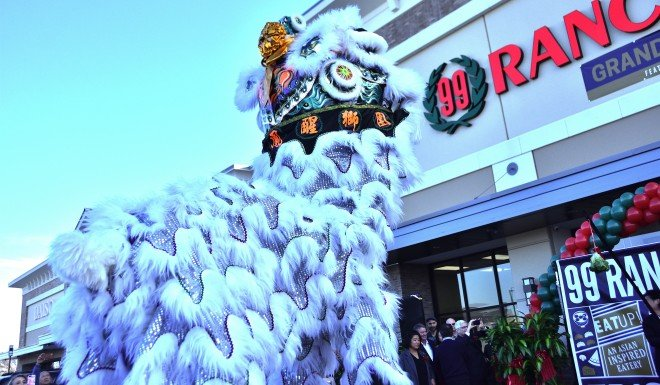 Lion dancers blessing a grand opening of a 99 Ranch Market.