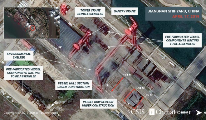 Satellite images reveal China aircraft carrier is coming along