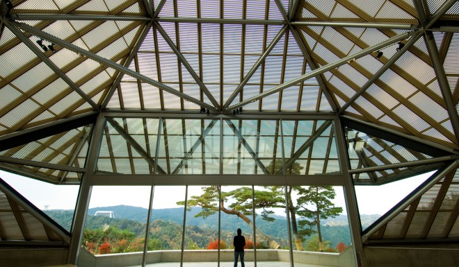 The interior of the Miho Museum. Pei employed modern materials to render the traditional triangle rooftop design from thatched cottages of ancient times.
