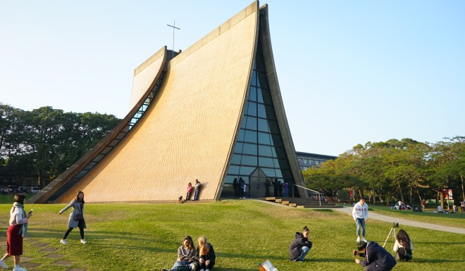 The Luce Memorial Chapel, opened in 1963 in Taichung, Taiwan, is a prime example of Pei's philosophy of designing around natural light and respecting the surrounding environment.