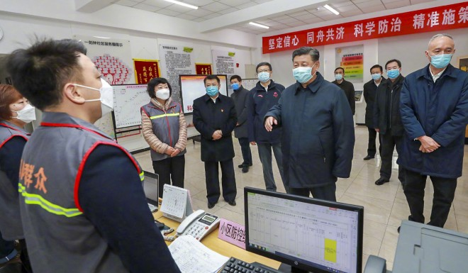 The official Chinese news agency Xinhua has released photos of President Xi Jinping inspecting a Beijing hospital on February 10, 2020.