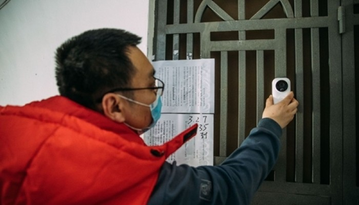 Ring-like smart doorbell monitors people in Covid-19 isolation