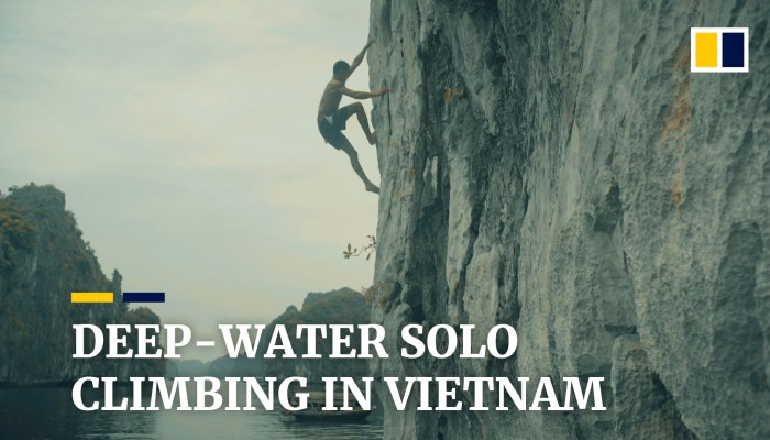 Deep-water solo climbing in Vietnam
