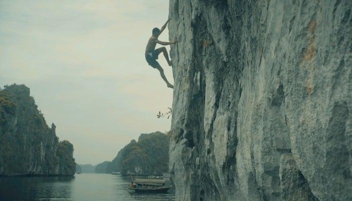 Deep-water solo climbing in Vietnam