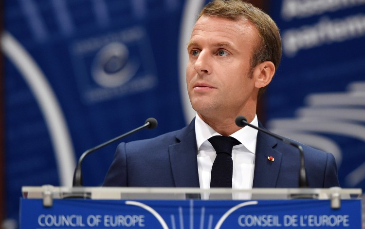 President Emmanuel Macron of France speaks to the Council of Europe parliamentary assembly on Tuesday. Photo: AFP