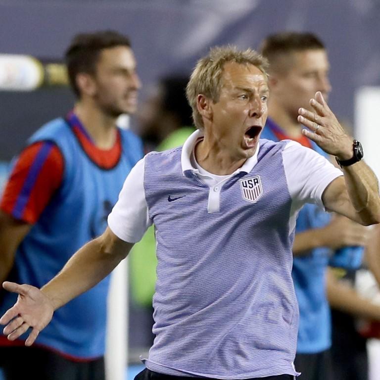 9d463d92bb5 US head coach Jurgen Klinsmann reacts during a Copa America Centenario  match against Paraguay in 2016