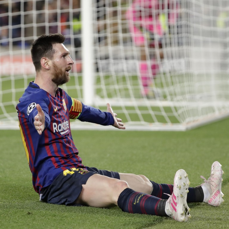 a5c3131b992 Lionel Messi celebrates scoring Barcelona s third goal during the Champions  League semi-final first leg
